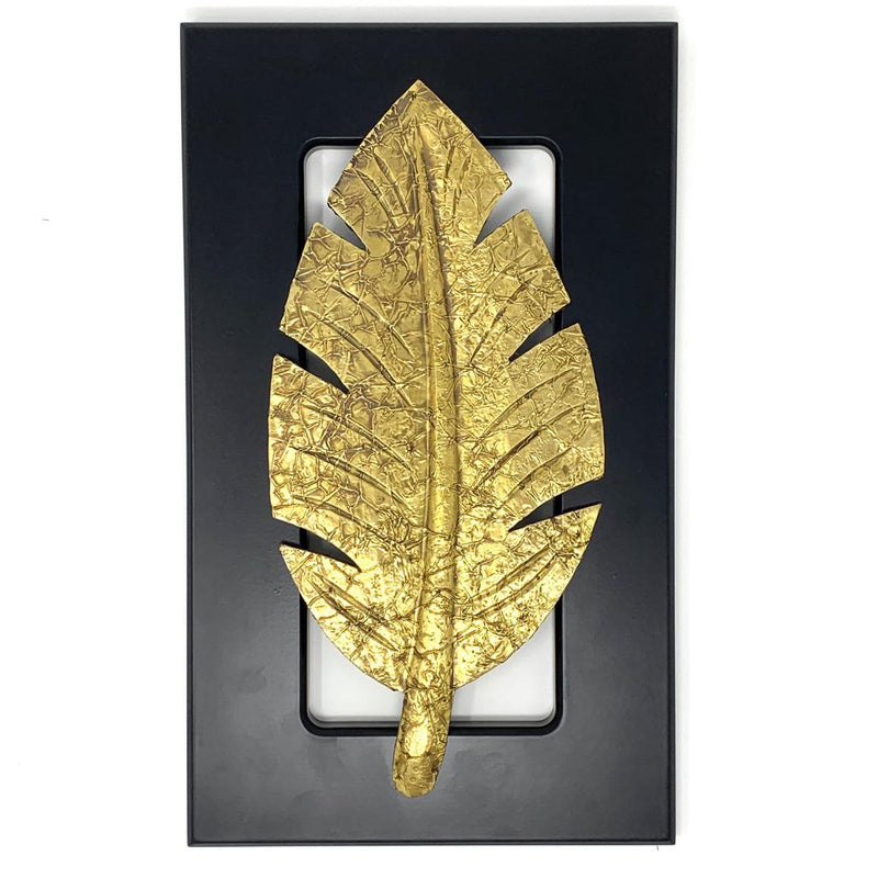 Brass leaf Wall Decor - Black Wooden frame - Wall hanging - Home Decor - Crafts N Chisel