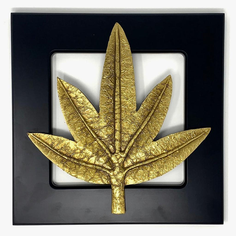 Brass leaf Wall Decor - Wooden Frame - Wall hanging - Crafts N Chisel - Indian home decor - Online USA