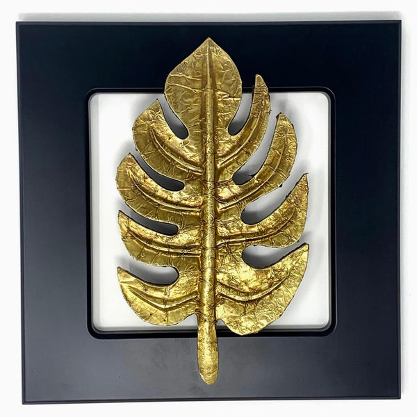 Solid Monstera Brass leaf Wall Decor - Black Wooden Frame - Home Decor - Crafts N Chisel