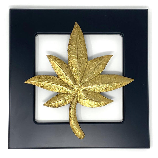 Brass leaf motif - Wooden Frame Wall Hanging - Wall decor crafts n chisel