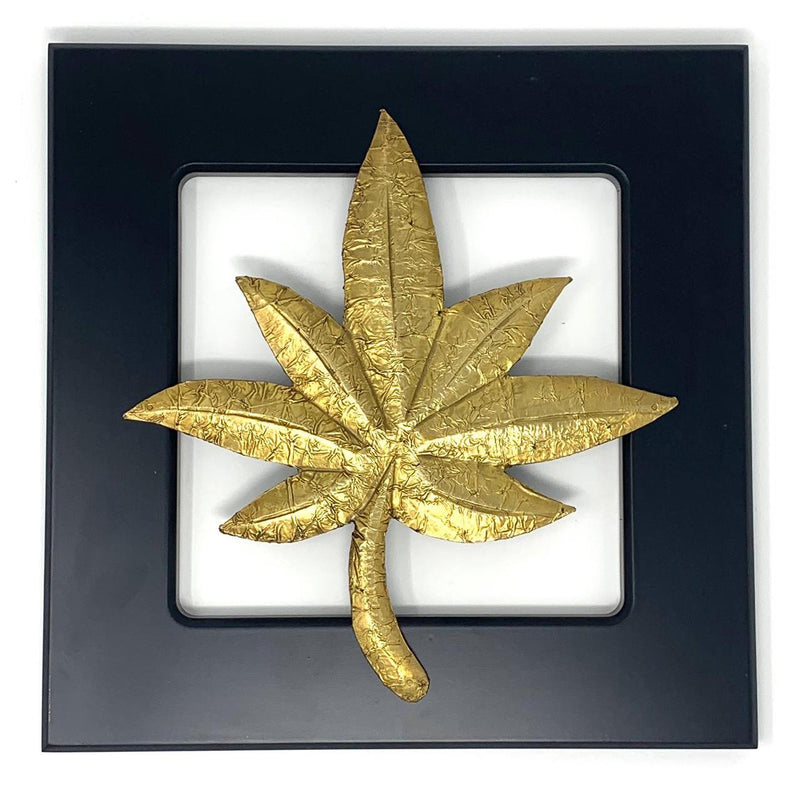Brass leaf motif - Wooden Frame Wall Hanging - Wall decor - Crafts N Chisel - Indian home decor - Online USA