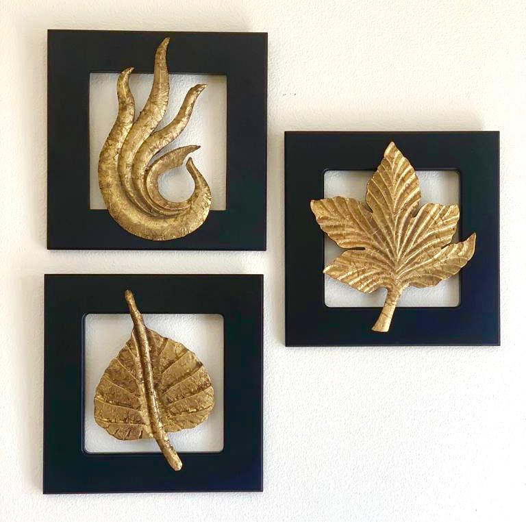 Brass Leaf Wall Hanging (Set of 3) - Home Decor - Crafts N Chisel