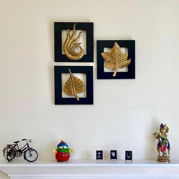 Brass Leaf Wall Hanging (Set of 3) wall decor - Crafts N chisel