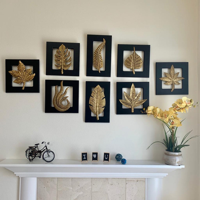 Brass Leaf Wall Hanging (Set of 8) - Crafts N Chisel - Indian home decor - Online USA