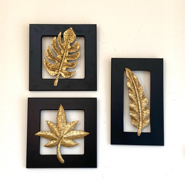Brass Leaf Wall Hanging (Set of 3) - Crafts N Chisel - Indian home decor - Online USA