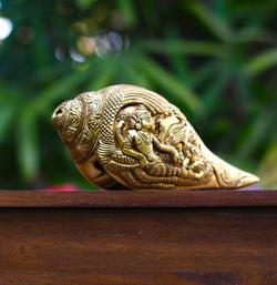 "Brass Conch (Shank) 8"" - Lord Vishnu Sheshnag Carving - Decorative Home Decor - Home Decor - Crafts N Chisel"