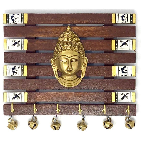 Brass Buddha & Warli Hand-Painted Key Holder On Wood (6 Hooks) - Wall Decor - Home Decor - Crafts N Chisel