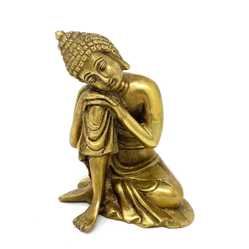 "Resting Buddha with Tilted Head 6"" Statue - Brass Art - Religious - Decorative - Crafts N Chisel - Indian home decor - Online USA"