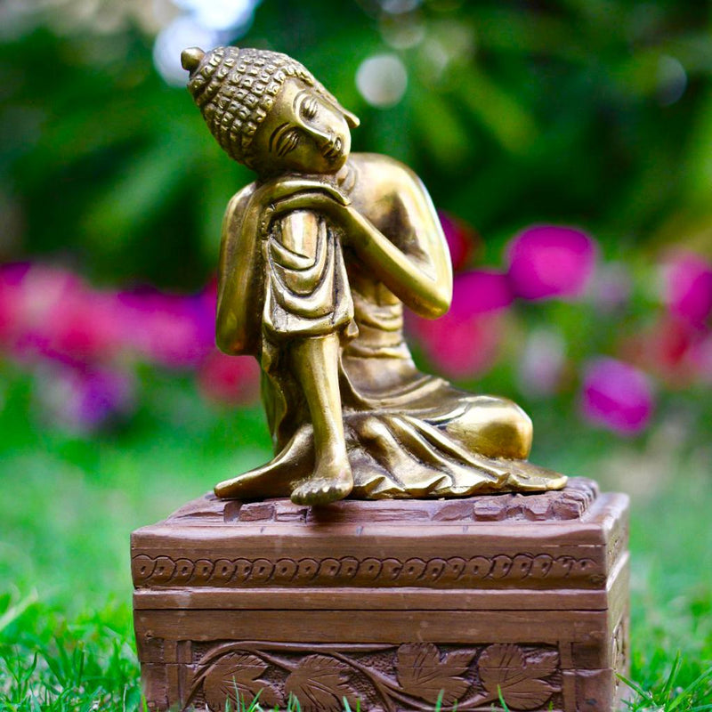 "Resting Buddha with Tilted Head 6"" Statue - Brass Art - Religious - Decorative - Home Decor - Crafts N Chisel"