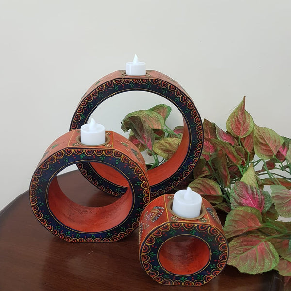 Rajasthani Wooden Candle Holder (Set of 3) - Home Decor - Crafts N Chisel