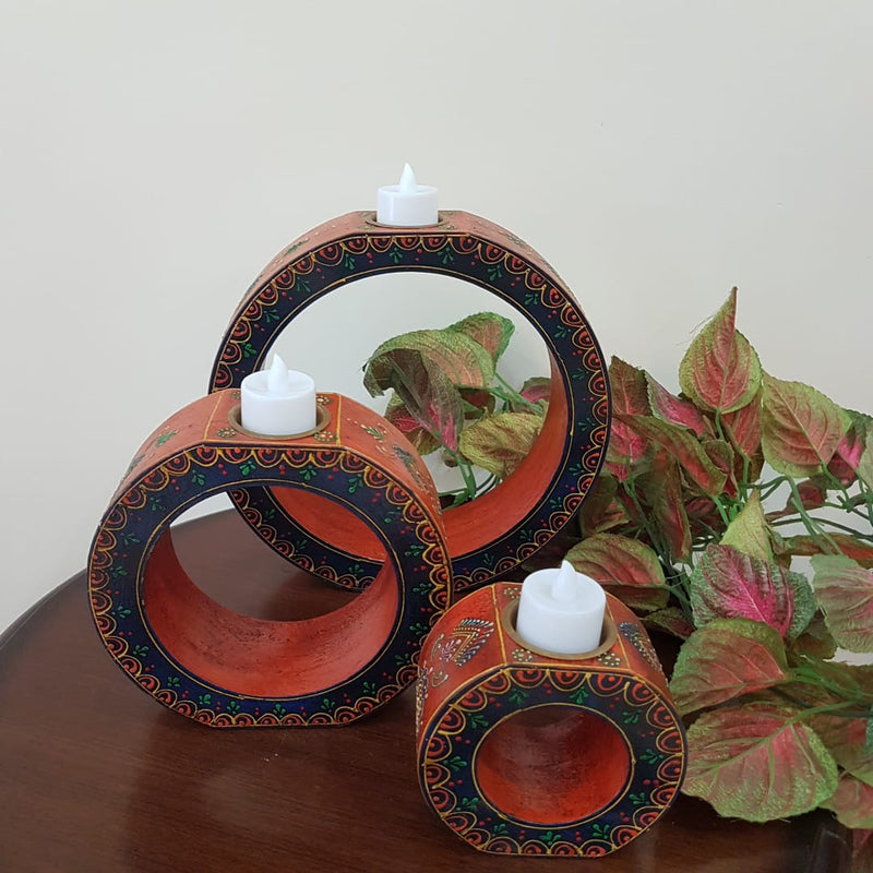 Rajasthani Wooden Candle Holder (Set of 3) - Crafts N Chisel - Indian home decor - Online USA