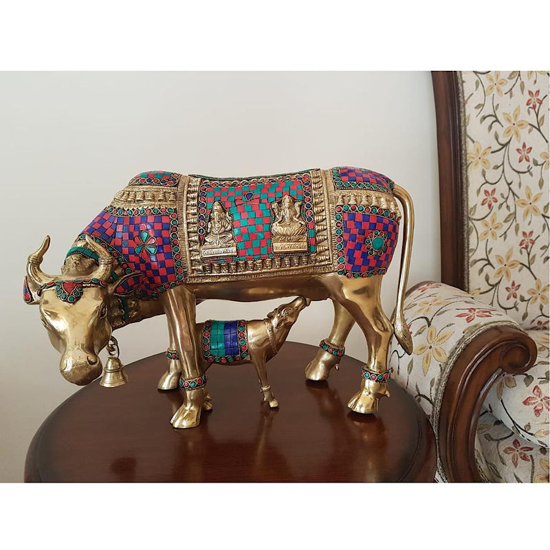 Cow and Calf Set - Nandi Idol - Brass Statue Handcrafted turquoise Inlay -  Decorative Figurine - Crafts N Chisel