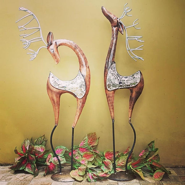 Handcrafted Iron Mosaic Deer (set of 2) | home decor | Crafts N chisel