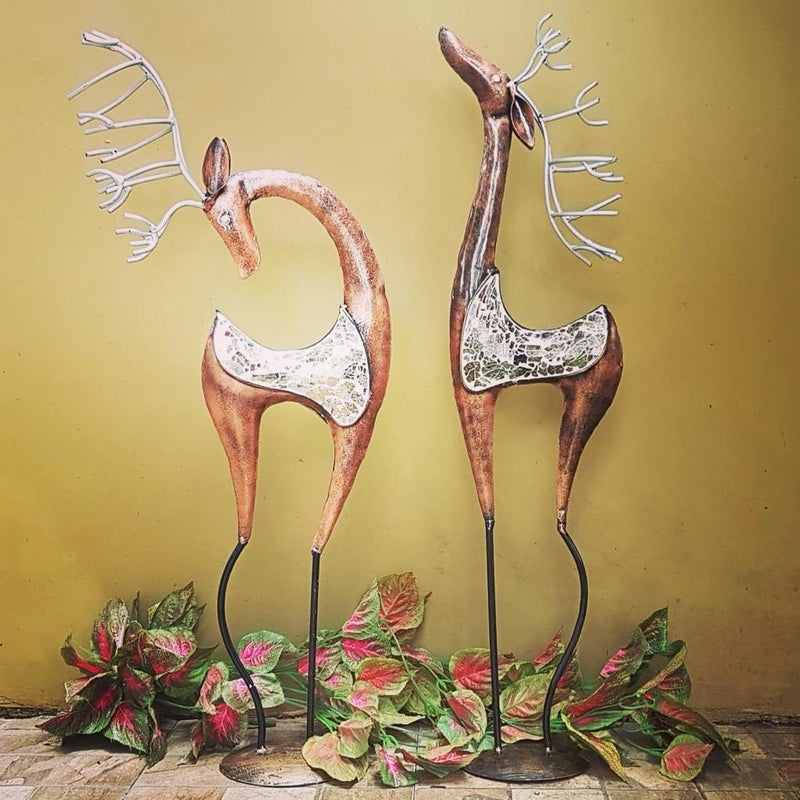 Handcrafted Iron Mosaic Deer (set of 2) - Crafts N Chisel - Indian home decor - Online USA
