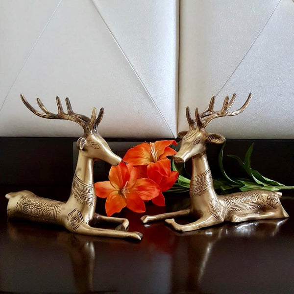 Handcrafted Brass Deer (set of 2) - home decor - table decor - Crafts N Chisel