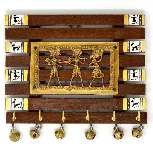 Dhokra & Warli Hand-Painted Key Holder On Wood (6 Hooks) - Wall Decor