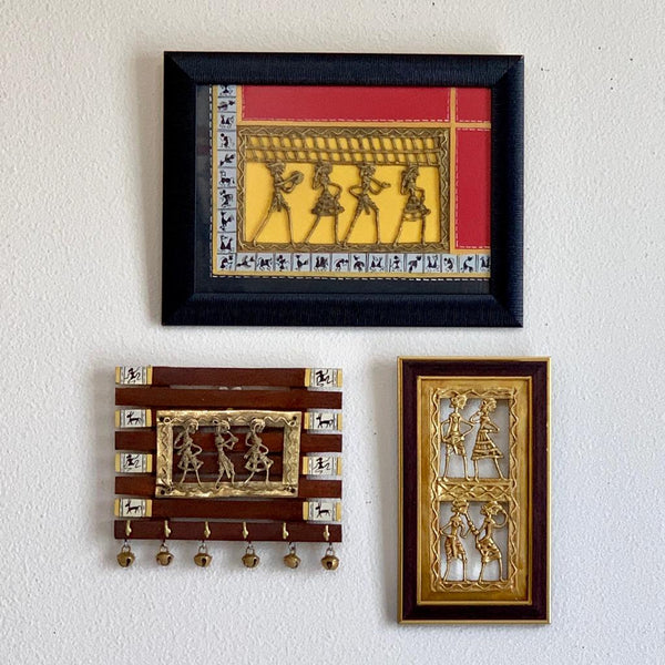 Dhokra Warli Wall Hanging & Key Holder (set of 3) - Wall Decor - Home Decor - Crafts N Chisel - Indian home decor - Online USA
