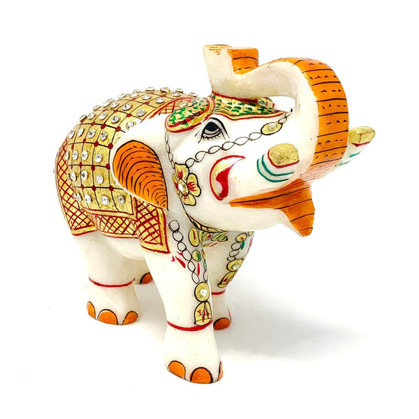 "Handcrafted 5"" Marble Elephant - Gold leaf Meenakari Stone Art - Home Decor - Crafts N Chisel"