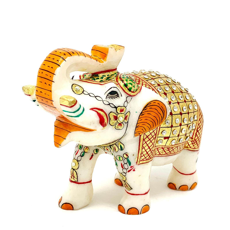 "Handcrafted 5"" Marble Elephant - Gold leaf Meenakari Stone Art - Crafts N Chisel - Indian home decor - Online USA"