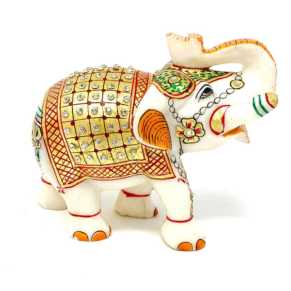"Handcrafted 5"" Marble Elephant - 22K Gold leaf Meenakari kundan Studded Jerken Work - Collectable"