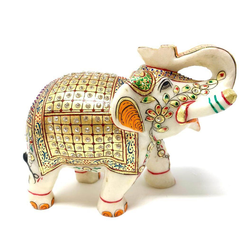 "Handcrafted 6"" Marble Elephant - Gold leaf Meenakari Stone Art - Home Decor - Crafts N Chisel"