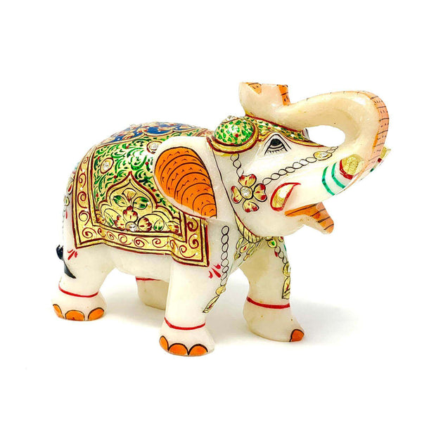 "Handcrafted 5"" Marble Elephant - 22K Gold leaf - Green and Blue Meenakari Work - Collectable Traditional Rajasthani Art"