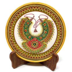 "Gold Leaf Jewelry Painting Round Marble 6"" Jew Plate - Green and Red Neckpiece Meenakari - Traditional Rajasthani Art - Home Decor, Table Decor"