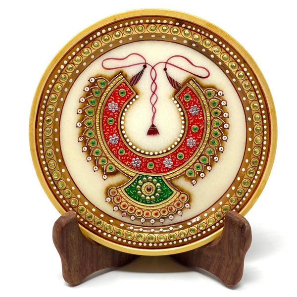 "Handcrafted Decorative 6"" Marble Round plate - 22K Gold Leaf Jewelry Painting - Kundan studded Meenakari work - Jew Plate, Home Decor crafts n chisel"