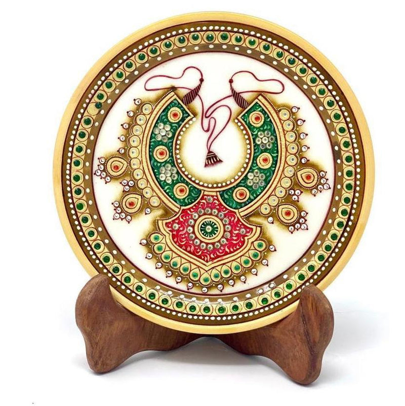 "Gold Leaf Jewelry Painting Round Marble 6"" Jew Plate -  Red and Green Neckpiece Meenakari - Traditional Rajasthani Art - Home Decor, Table Decor crafts  n chisel"