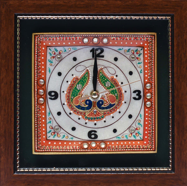 "Gold leaf 9"" Marble Clock - Meenakari Stone Art Jewelry Painting - Home Decor - Crafts N Chisel - Indian home decor - Online USA"