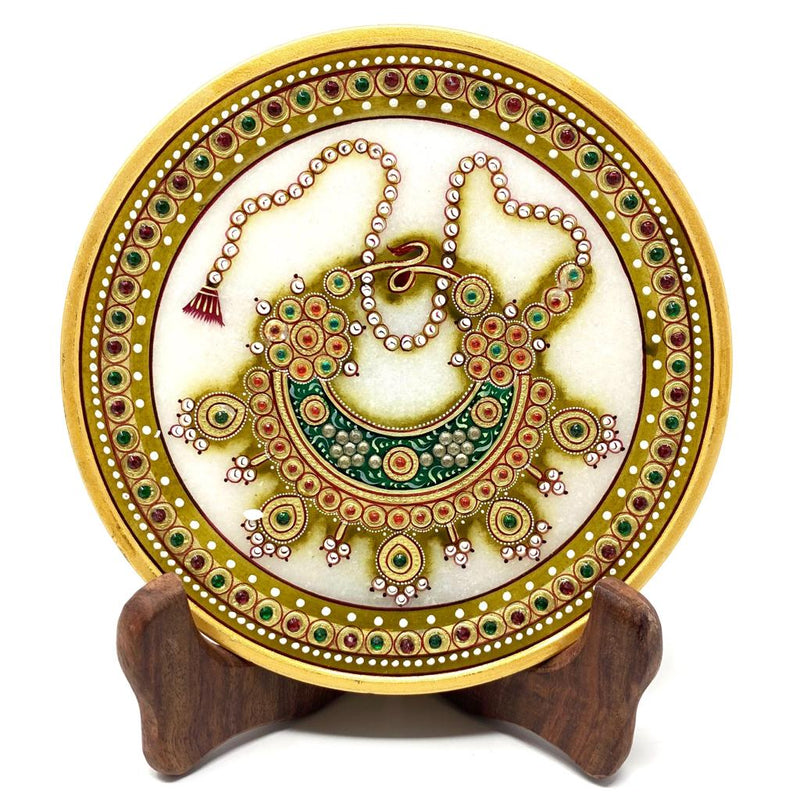 Gold Leaf Jewelry Painting Round Marble Jew Plate - Red and Green Meenakari Nath Nose Ring - Traditional Rajasthani Art - Home Decor, Table Decor