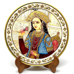 "Gold Leaf Meenakari Painting - Artistic Lady Portrait - Decorative Round Marble 9"" Plate - Crafts N Chisel - Indian home decor - Online USA"