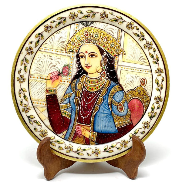 "Gold Leaf Meenakari 9"" Round Marble Plate - Artistic Lady Portrait - Collectable Home Decor, Table Decor crafts n chisel"