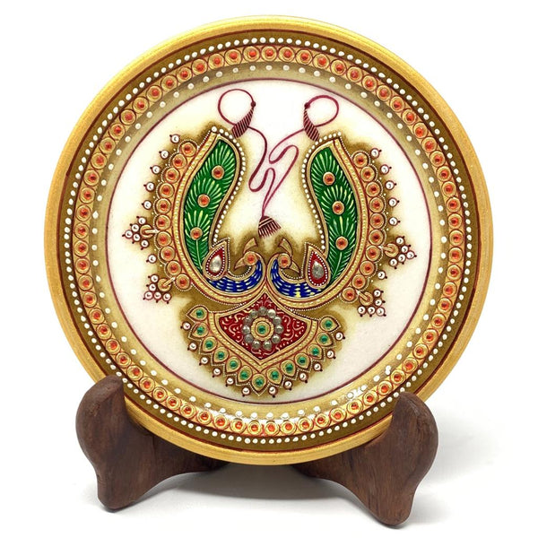 "Gold Leaf Meenakari Jewelry Painting - 6"" Round Marble Plate - Handmade Home Decor - Home Decor - Crafts N Chisel"