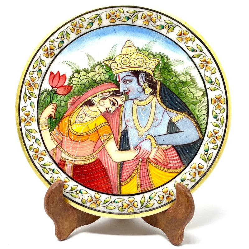 "Lord Radha Krishna Gold leaf 9"" Marble Round Jew Plate - Home Decor, Table Decor - Spiritual - Crafts N Chisel - Indian home decor - Online USA"