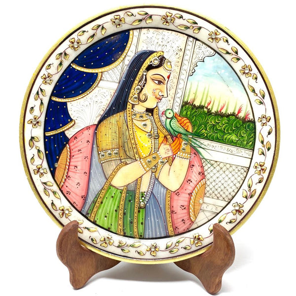 "Gold Leaf Meenakari Portrait Painting, Rajasthani Royalty - Decorative 9"" Round Marble Plate - Crafts N Chisel - Indian home decor - Online USA"