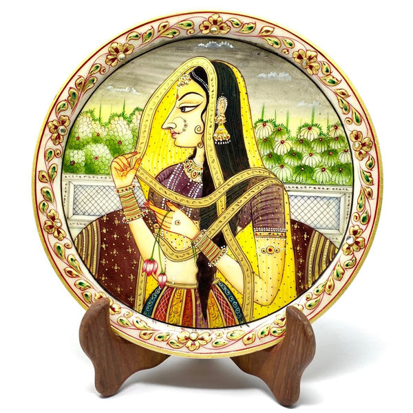 "Gold Leaf Meenakari Portrait Painting, Rajasthani Maharani - Decorative Round Marble 9"" Plate - Home Decor - Crafts N Chisel"