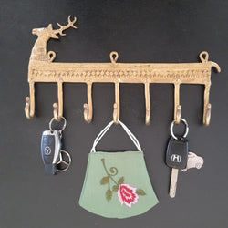 Brass Deer Key Holder (7 Hooks)-Crafts N Chisel-Indian Handicrafts Online USA
