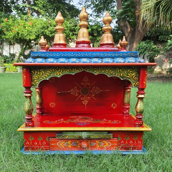 "15"" Wooden Temple (Mandir) - Open Design - Crafts N Chisel - Indian home decor - Online USA"
