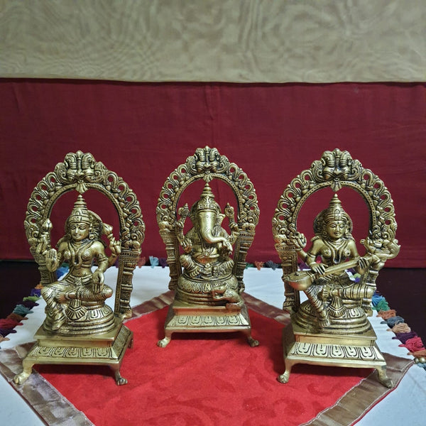 Lakshmi Ganesh Saraswati Brass Idol  - Decorative Home Decor