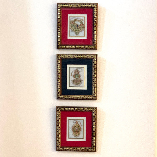 Handcrafted Jewelry Painting (Set of 3) - Wall Decor - 22K Gold Leaf Meenakari Marble Art