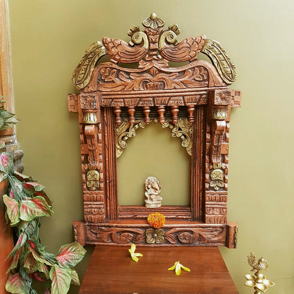 Peacock Decorative Wooden Jharoka - Wall Decor - Crafts N Chisel - indian home decor - USA