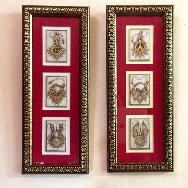 Handcrafted Jewellery Painting (Set of 2) - Home Decor - Meenakari Marble Work