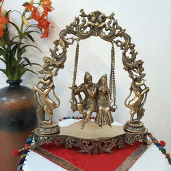 Radha Krishna Swing Decorative Brass Idol and Statue - Crafts N Chisel - indian home decor USA
