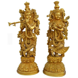 "30"" Brass Idol of Radha Krishna - Handmade Decorative Figurines"