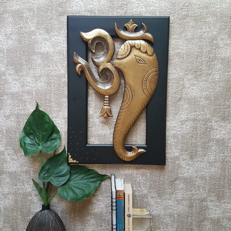 "24"" Om Ganesha Wall Hanging - Wall Decor - Crafts N Chisel indian home decor usa"
