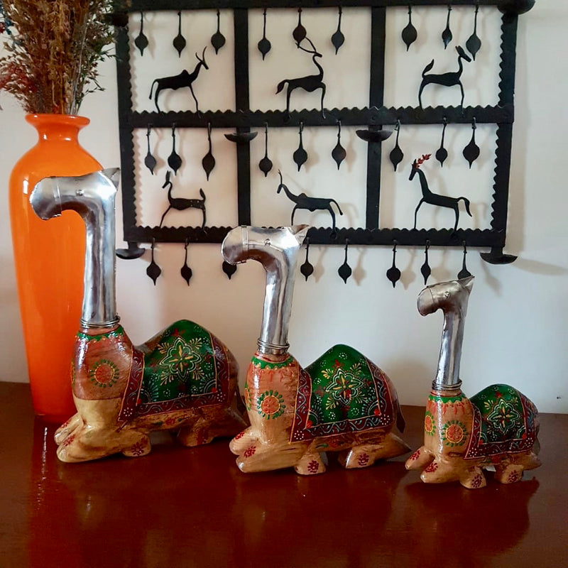 Decorative Wooden Metallic Camel (set of 3) - Crafts N Chisel - Indian home decor - Online USA