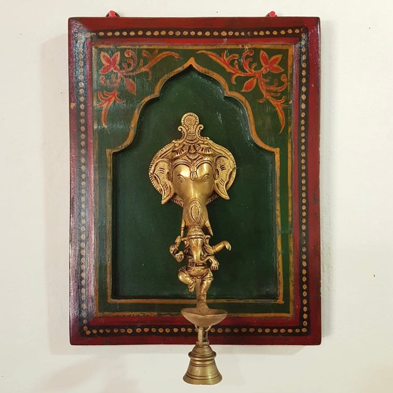 Lord Ganesh Diya and bell - Decorative Antique Wooden Frame - Crafts N Chisel - Indian home decor - Online USA