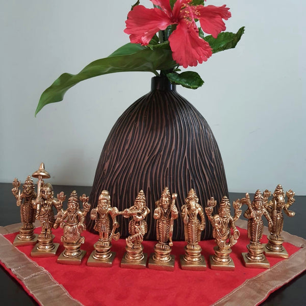 Lord Vishnu Dashavtar Brass Idols - Decorative Home Decor-Crafts N Chisel - Indian handicrafts home decor USA