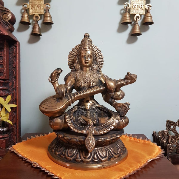 saraswati brass idol - indian handicrafts home decor - Crafts N Chisel - USA